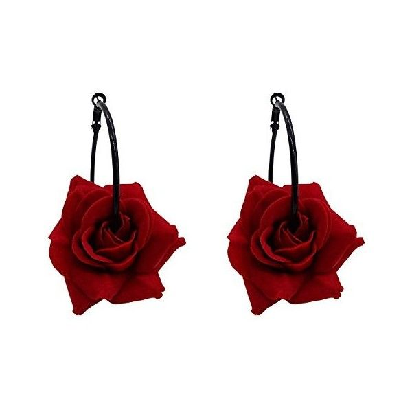 Rarelove Retro Gothic Black Rose Flower Hoop Earrings For Women 15 Liked On Polyvore Featuring Jewelry Black Rose Flower Blossom Jewelry Gothic Earrings