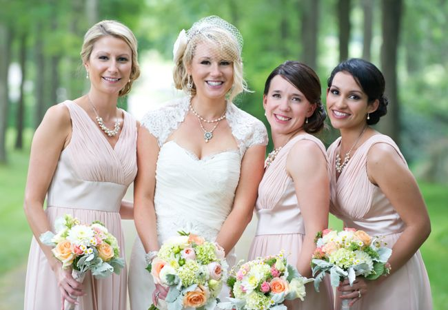 Pink Bridesmaid Dresses // Photography by: Leah Haydock // TheKnot.com
