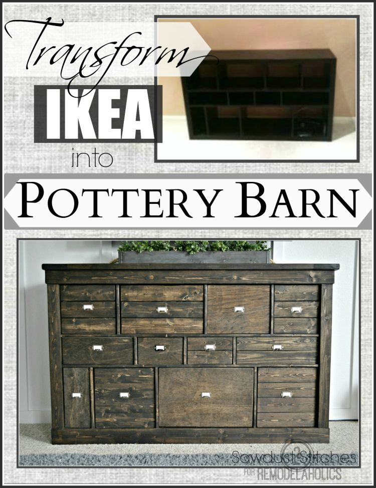 Ikea Makeover Into A Rustic Apothecary Style Media Cabinet  Www.sawdust2stitches.com
