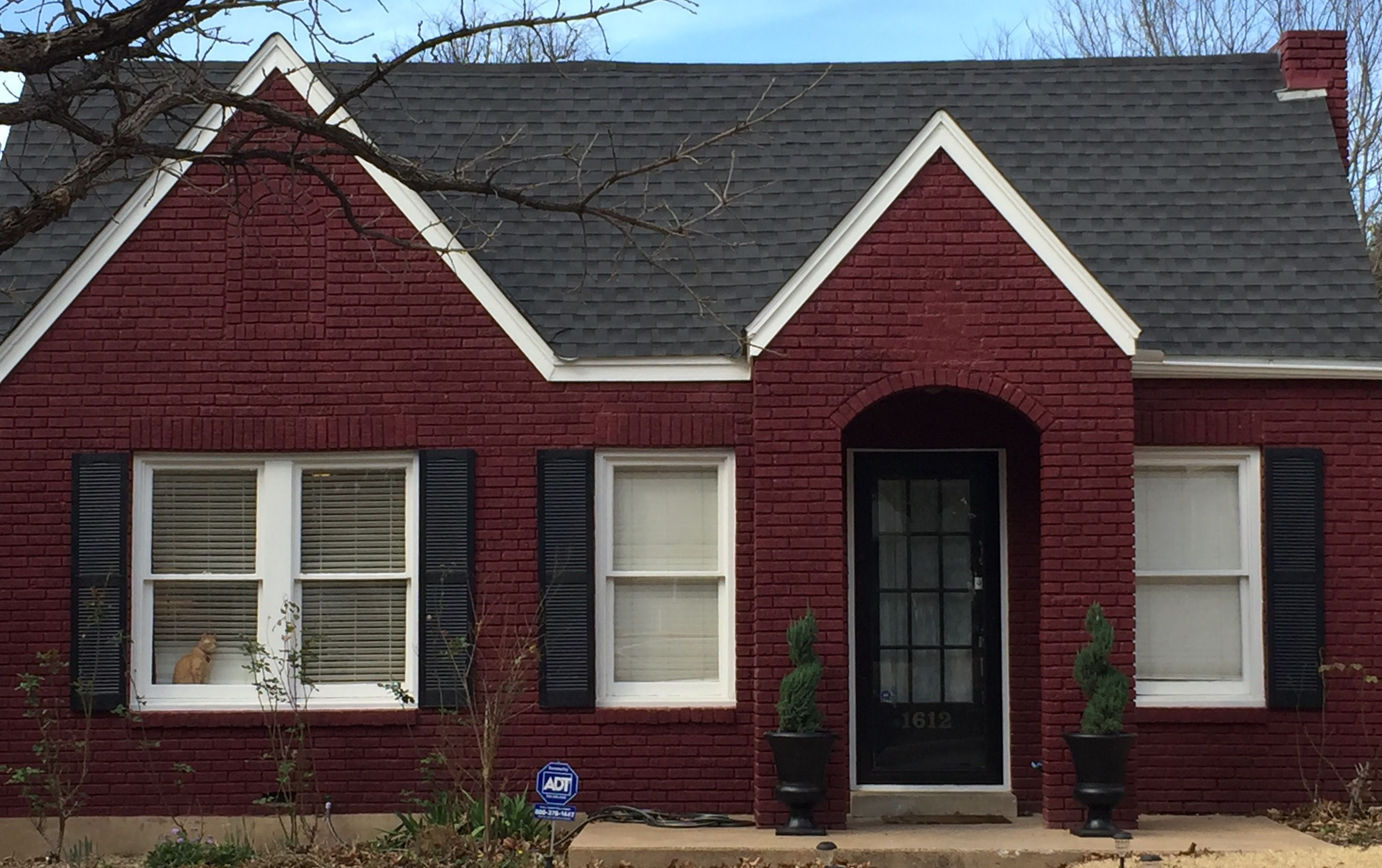Wine Red House With Dark Green Door And Shutters Attractive 2017 Red House Exterior Red Brick House House Exterior