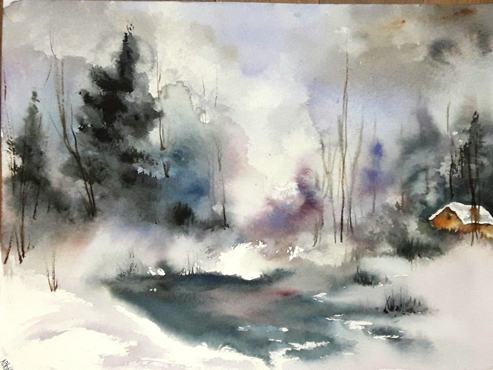 23x31cm Aquarelle Grand Calme Watercolor Canvas Watercolour