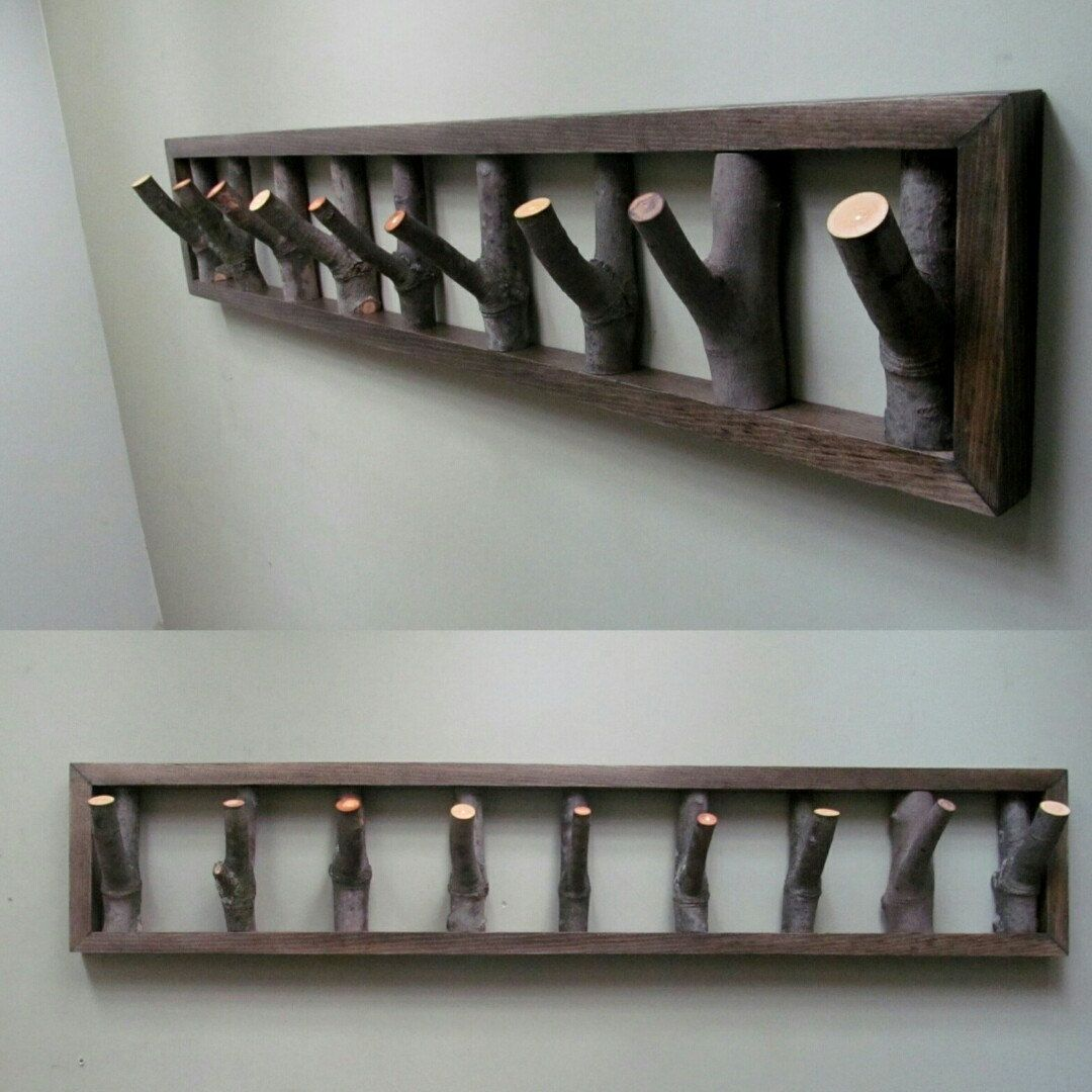 New addition! 42 x 8 branch hook coat rack, in your choice of 10 stains! www.driftingconcepts.com #hallway