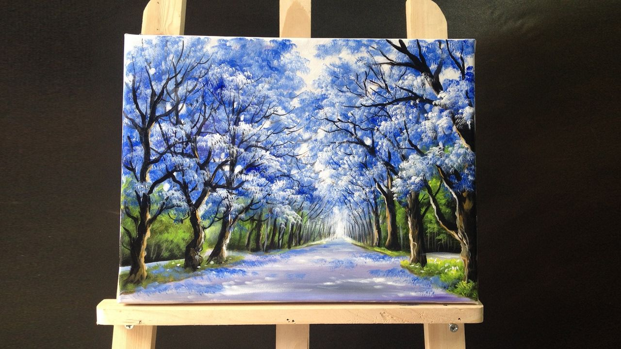 49 05 pretty tree line road acrylic painting art video 2 for Acrylic mural painting techniques