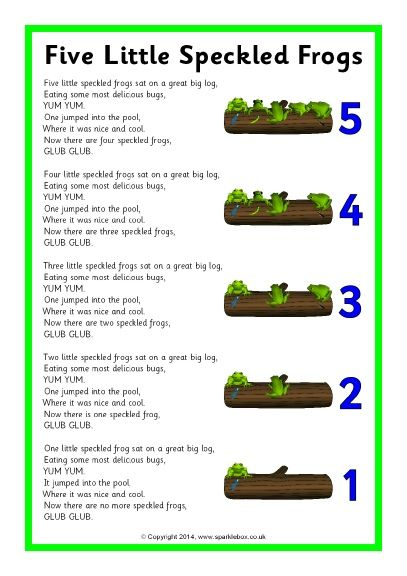 Five Little Speckled Frogs Song Sheet (SB10901)