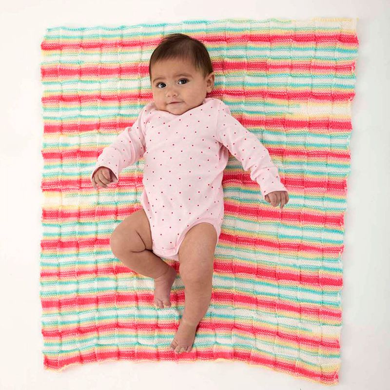Lion Brand Ice Cream Checkerboard Blanket Knit Pattern Crochet