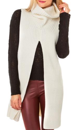 slit sleeveless sweater