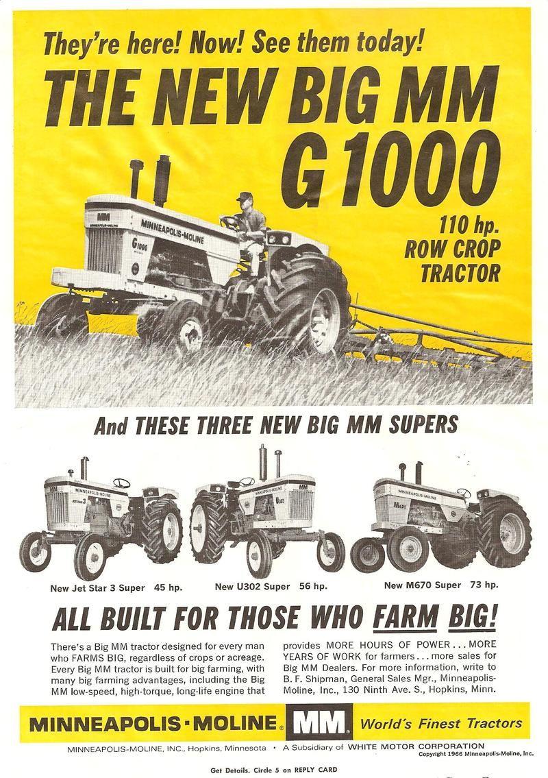 1965 Minneapolis-Moline G1000 Tractor Refrigerator Tool Box Magnet