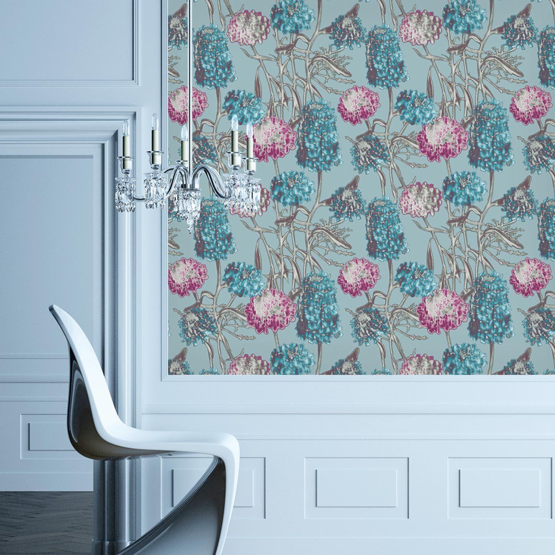 Temporary Wallpaper Hydrangea Azure