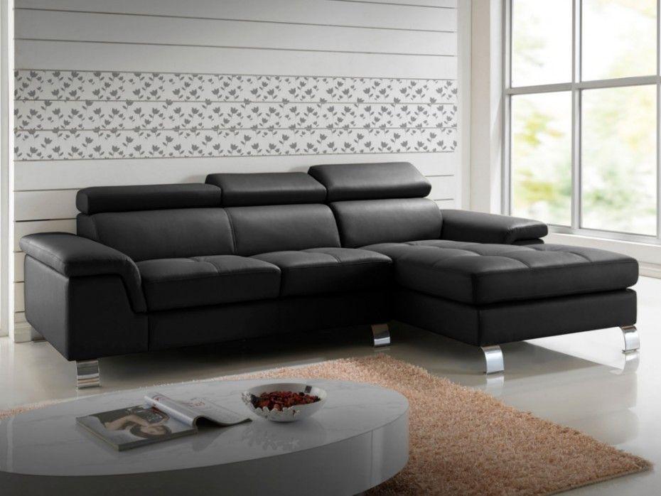 Canapé d angle cuir MISHIMA Noir Angle droit prix promo Canapé
