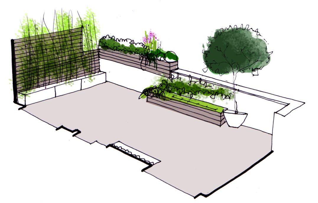 Dise o de jardin para terraza de atico paisajistas for Planos de jardines