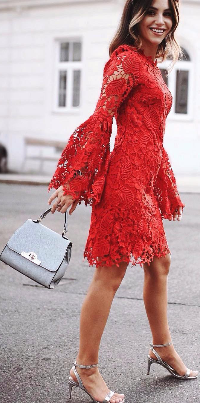 Glam Red Lace Bell Sleeve Dress Bell Sleeve Dress Lace Bell Sleeve Dress Bell Sleeve Dress Outfit