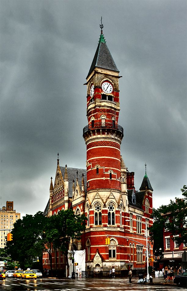 Jefferson Market Courthouse, originally built as the Third Judicial District Courthouse in 1874, had an adjacent women's jail (now torn down and replaced with a garden). Named for President Jefferson, it would serve as a courthouse for NYCs tenderloin district for many years, the court traffic being so heavy that it became the country's first night court. In 1945, the building ceased to... Discovered by Bob Cooley at New York Public Library - Jefferson Market Library, New York City, New York