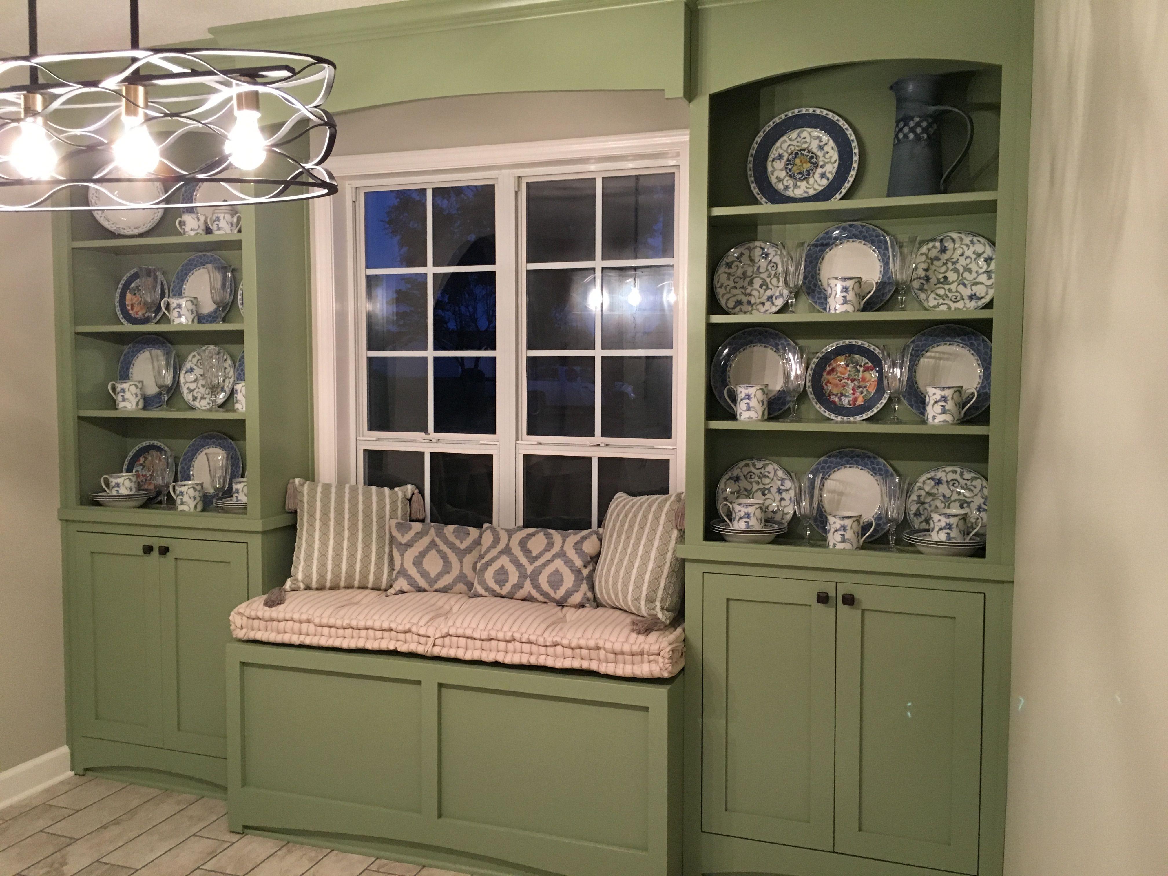 Best Green Custom Cabinets With Window Seat Custom Cabinets 400 x 300