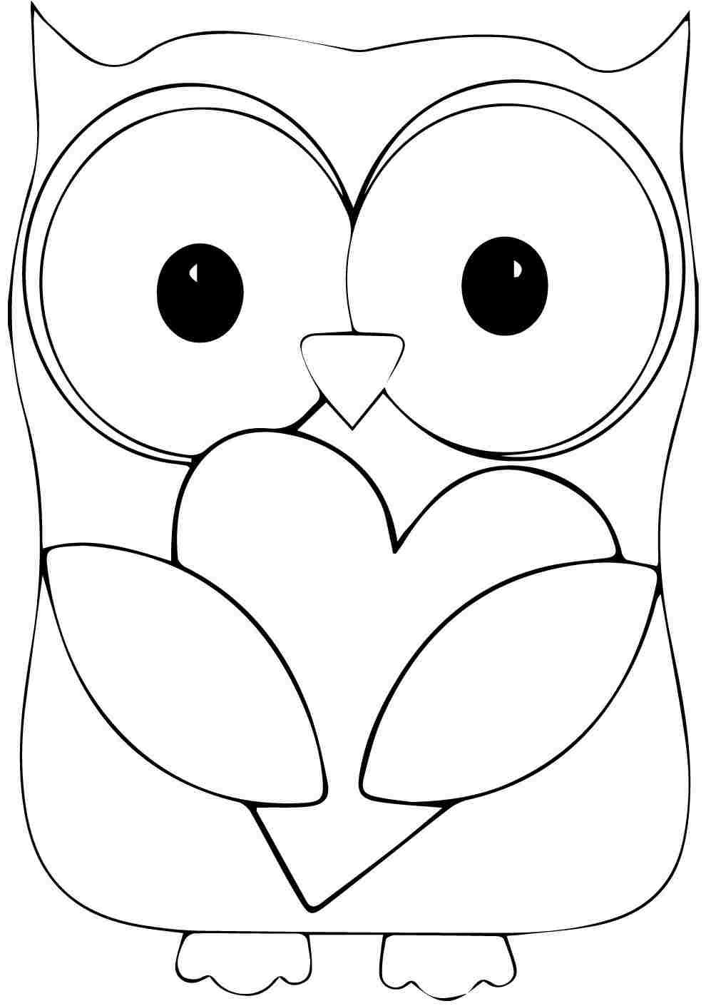 valentine owl coloring page - print full size image printable animal owl coloring