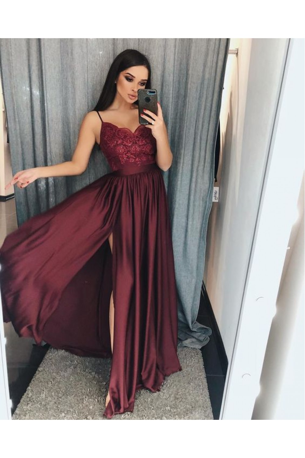 A Line V Neck Lace Long Prom Dresses Evening Gowns 601378 Burgundy Prom Dress Red Bridesmaid Dresses Prom Dresses [ 1500 x 1000 Pixel ]