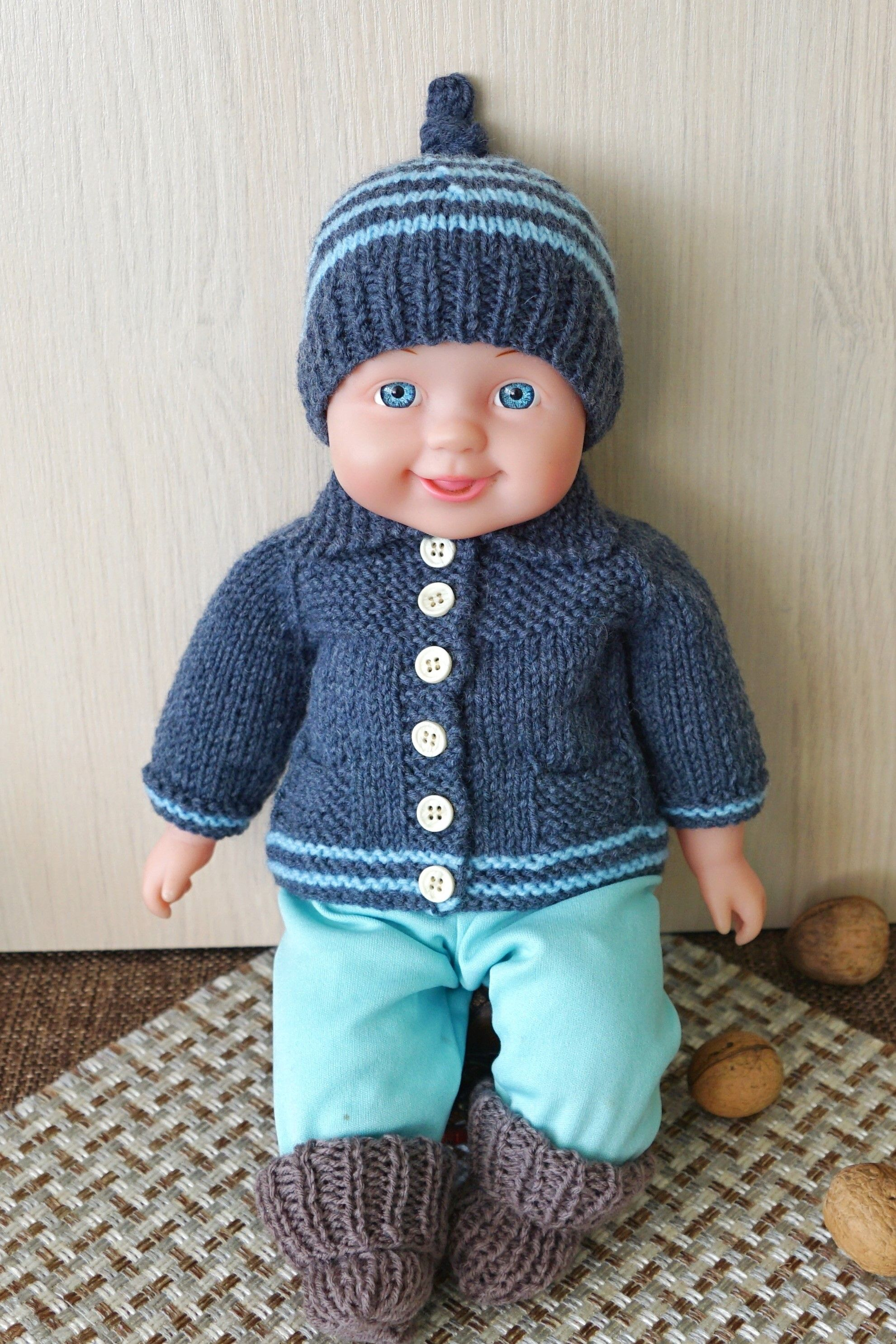 Boy doll clothing set, blue knitted cardigan, blue hat