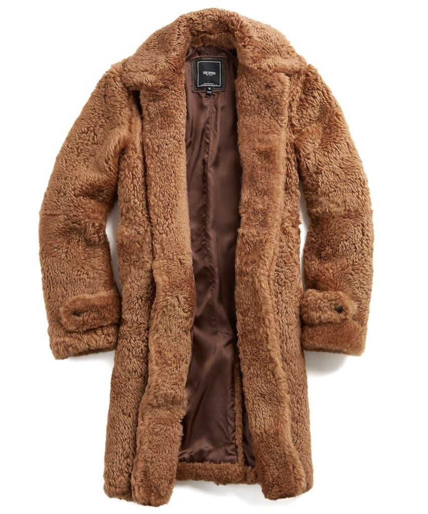 todd snyder sheepskin shearling topcoat in camel men\u0027s jackets and  todd snyder sheepskin shearling topcoat in camel