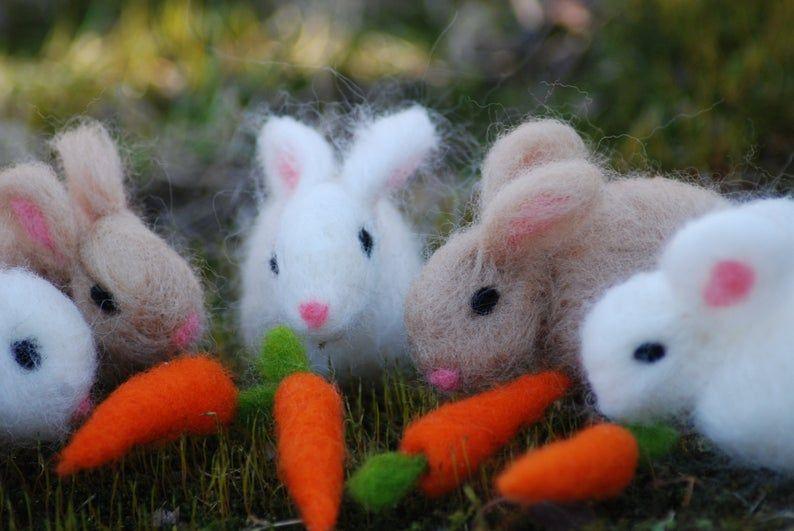 Needle Felted Easter Bunny, Needle Felted Bunny, With 1 Carrot, Easter Bunny, Handmade, Rabbit #needlefeltedbunny