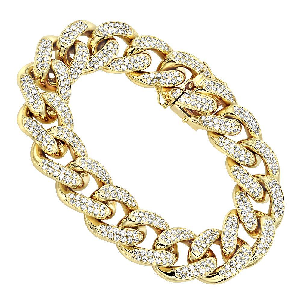 K gold miami cuban link chain diamond bracelet for men ct