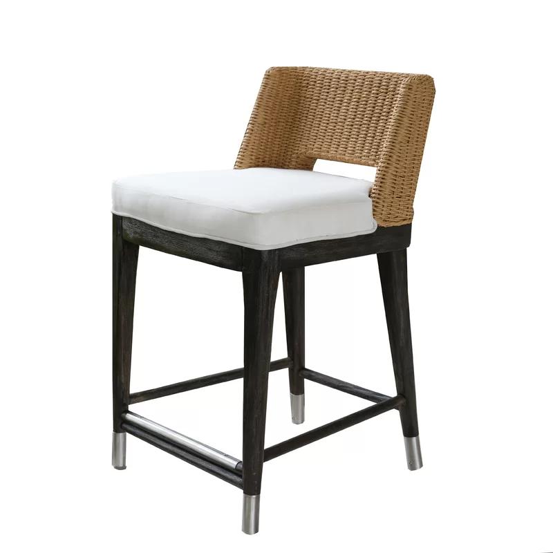 Holcomb Roped Outdoor Counter 24 Teak Patio Bar Stool With Cushion Patio Bar Stools Bar Stools Comfortable Bar Stools