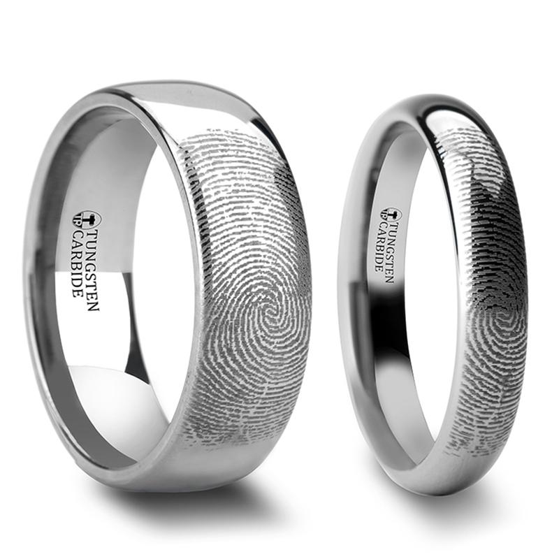 Eusebeia Custom Fingerprint Engraved Tungsten Couple's