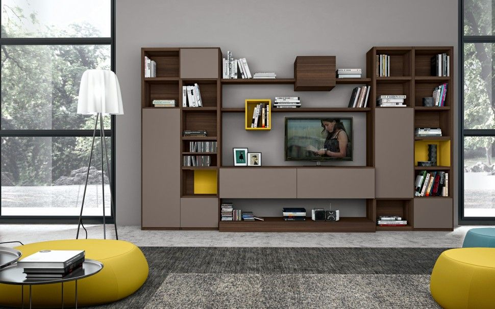 Living room large living room brown bookshelves grey for Modern living room shelving units