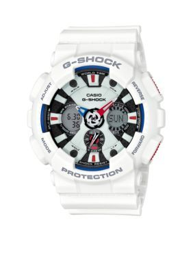 G-Shock  White with Red and Blue Accents Ana-Digi Watch