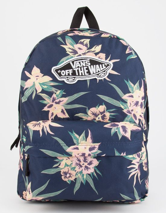 0277b0dca2983 Vans Fall Tropics Realm backpack. Allover tropical floral print. Large Vans  patch on front. Zip front pocket features organizer pockets.
