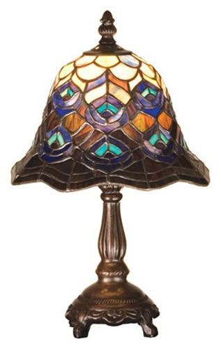 Meyda 30317 Tiffany Style Stained Glass Peacock Feather Mini Table