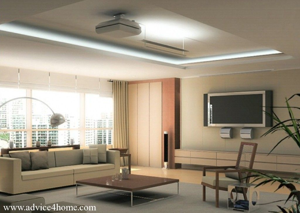 White False Ceiling Design And Cream Sofa Design In Living Room