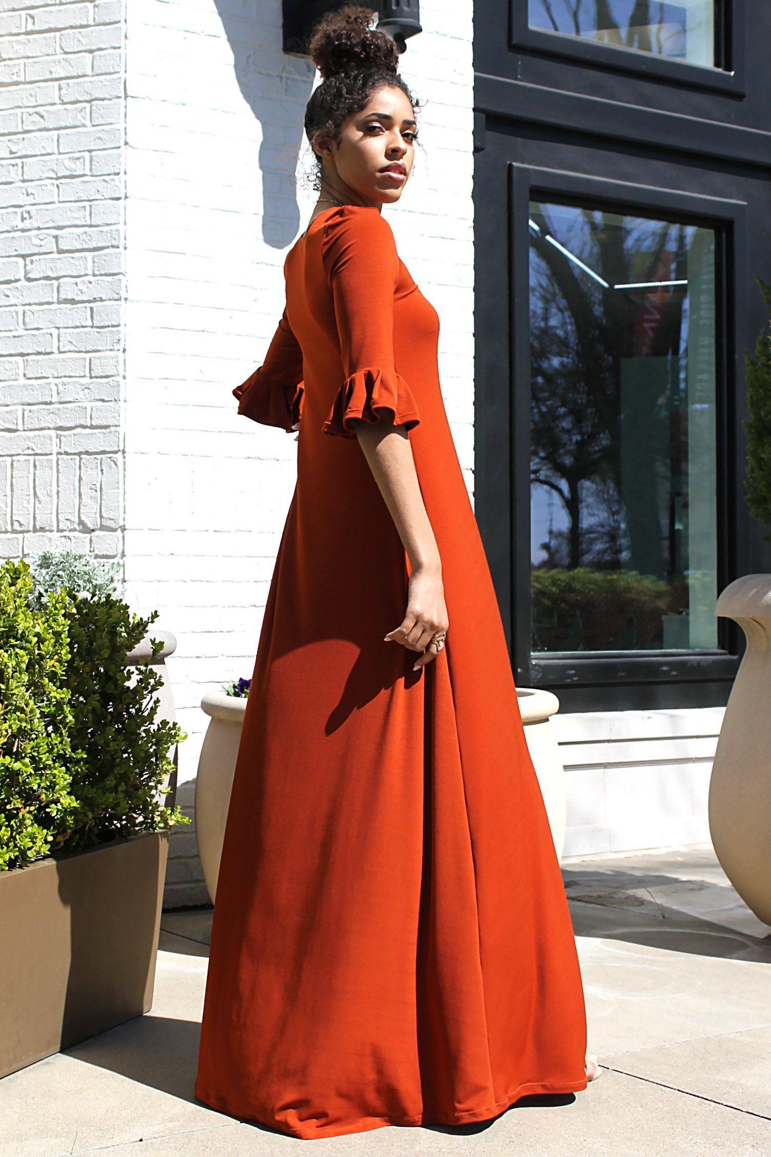Villa bell sleeve maxi dress in modest modern dimiloc