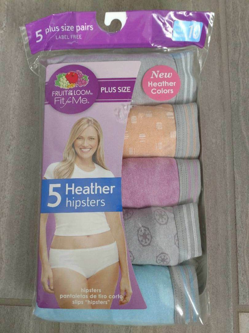 Fruit of The Loom Fit for Me Plus Size Cotton Heather Hipster Bikinis 5 Pack