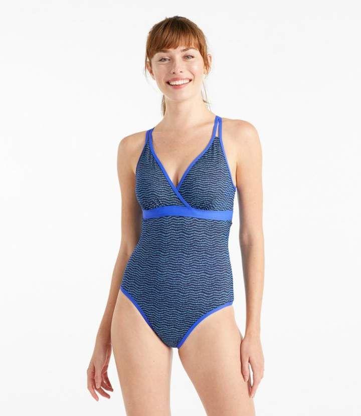 69d86c565aa81 L.L. Bean L.L.Bean Women's ReNew Swimwear V-Neck Tanksuit, Print in ...