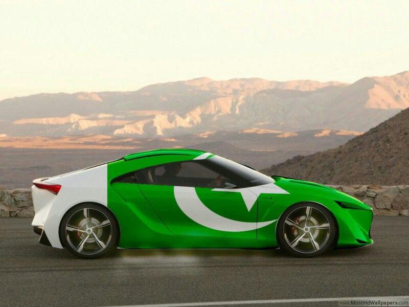 Pakistan Flag Car Cricket 14TH AUG INDEPENDENCE