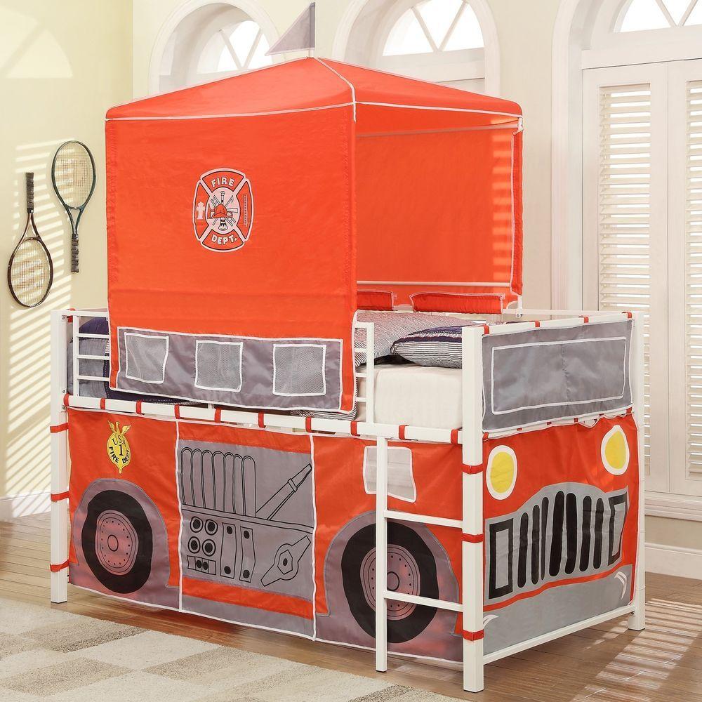 Hero White Fire Engine Metal Loft Boys Dream Bed Sleep