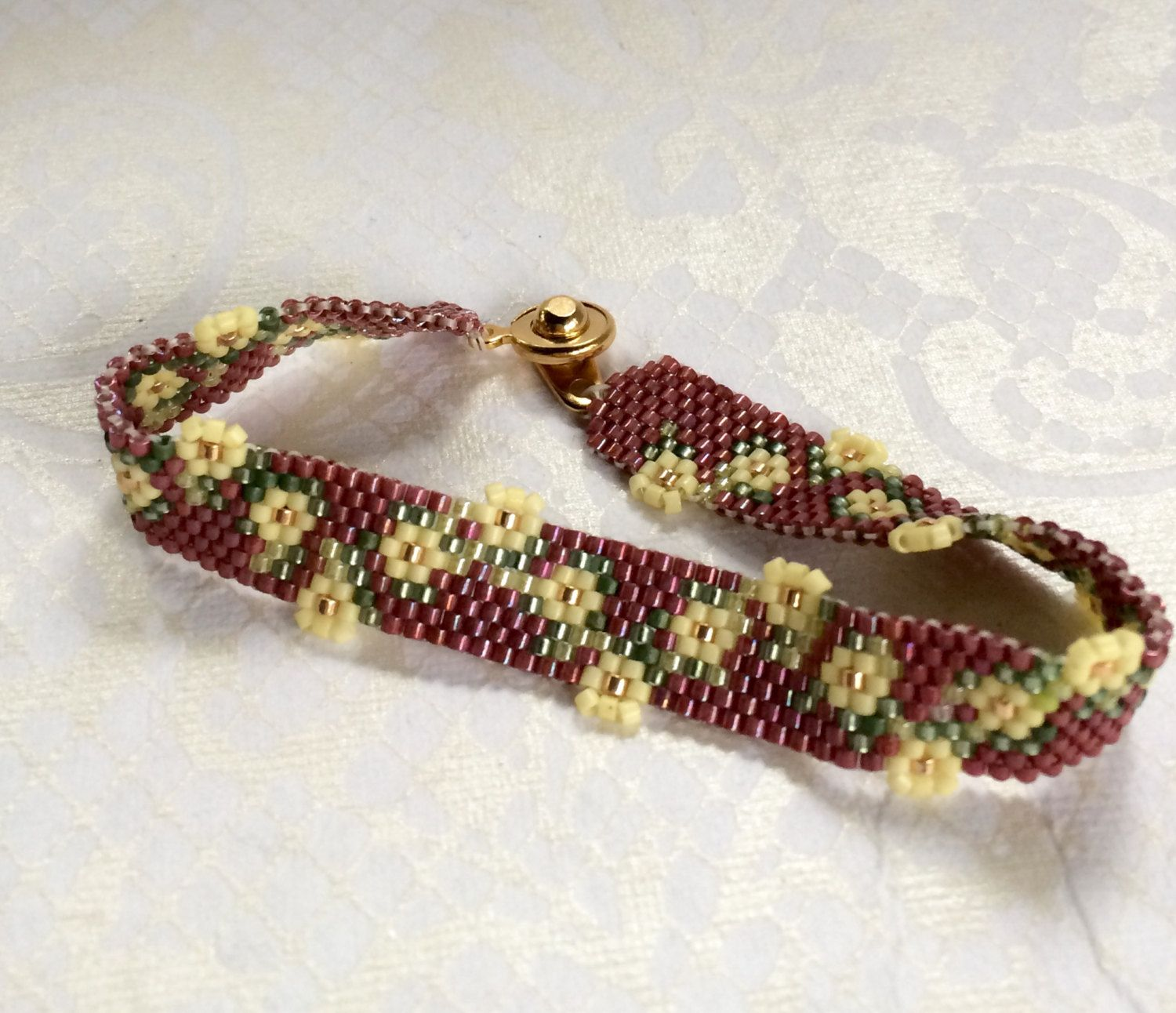 Hand made, Peyote Stitched Beaded Bracelet with a Garland of Flowers #garlandofflowers
