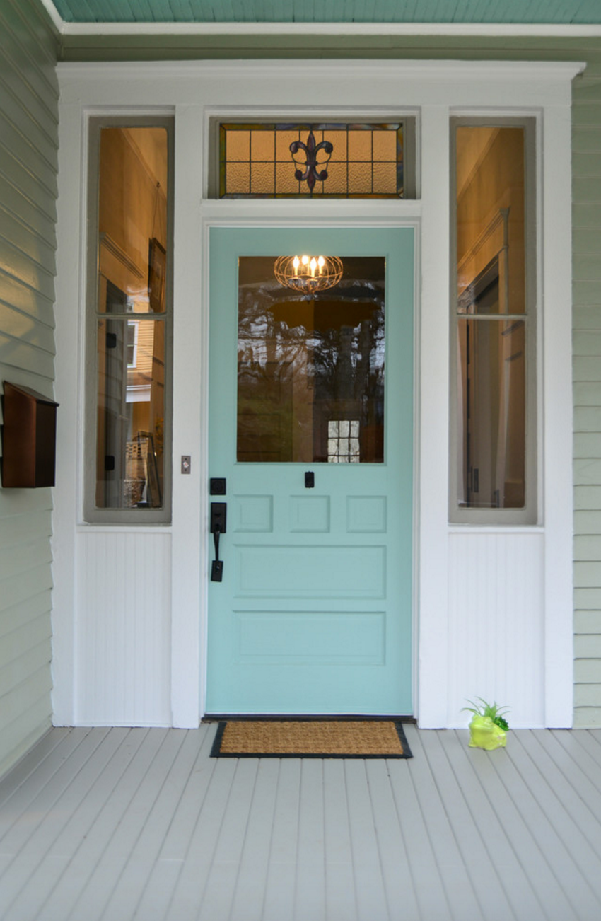 This welcoming entry uses a trio of sherwin williams paint for Side doors for houses