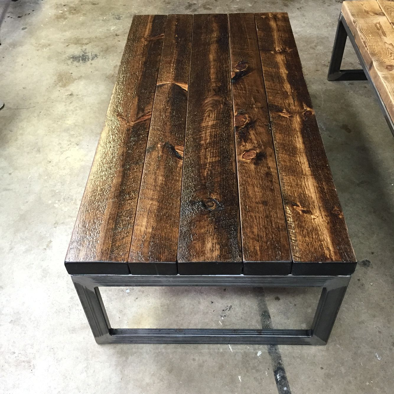 Handmade Solid Coffee Table With Rough Cut Pine Stained In Black