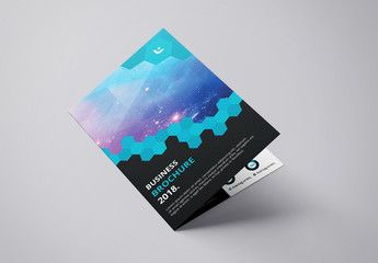 Business Brochure Layout with Hexagonal Design Element 1