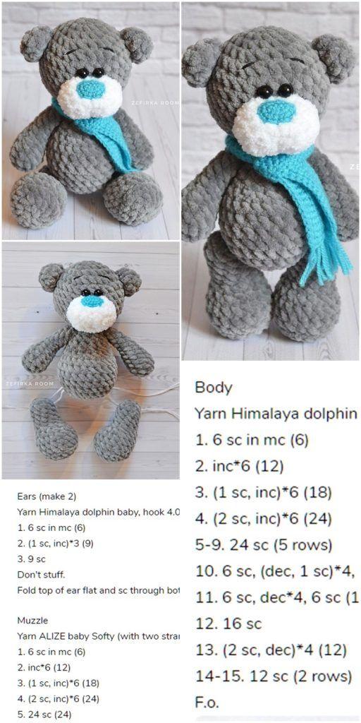 Amigurumi Crochet Plush Bear Free Pattern - Amigurumi Crochet #amigurumicrochet