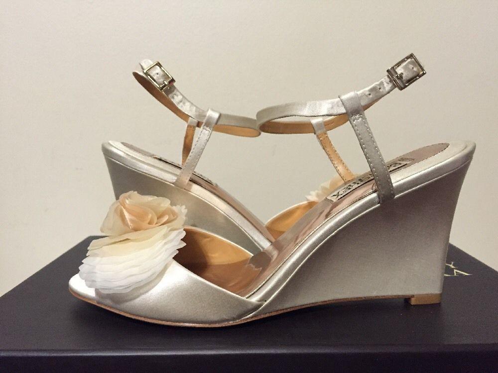 d8349a706 Badgley Mischka Glee Ivory Satin Women s Dressy Evening Wedge Heels Sandals  6.5  BadgleyMischka  FashionDressyEveningWedgeHeelsSandals