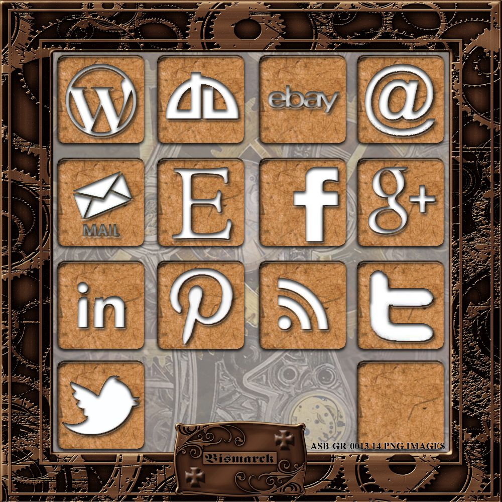 Steampunk Social Media Icons #3 [ASB-GR-0013] - $1.50 : The Airship Bismarck, Fine Quality Steampunk Masks, Goggles, and Accessories