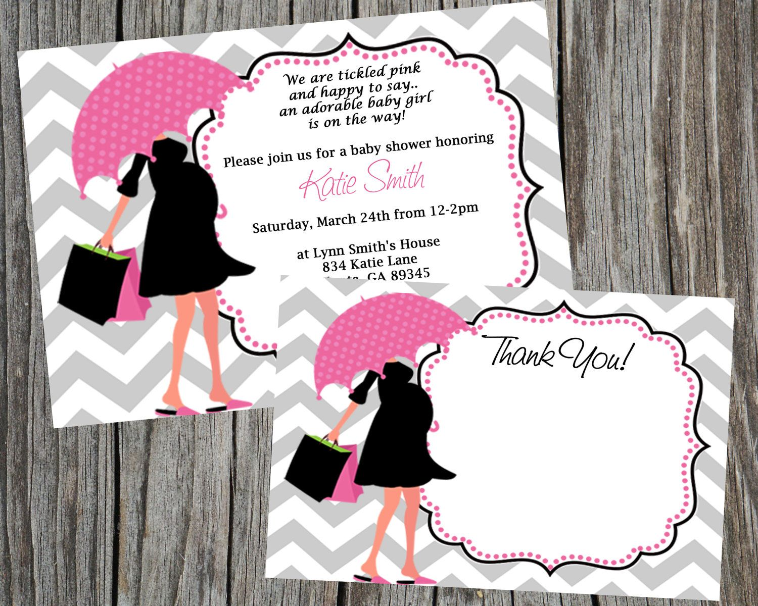 Combo special modern mom baby shower invitation and thank you card combo special modern mom baby shower invitation and thank you card pink girl printable filmwisefo Choice Image