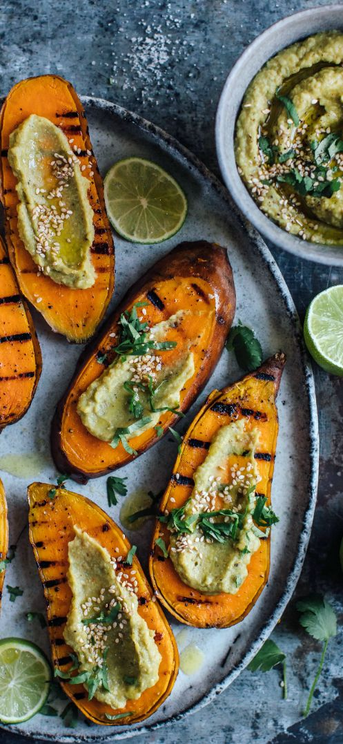 Grilled sweet potato with avocado dip