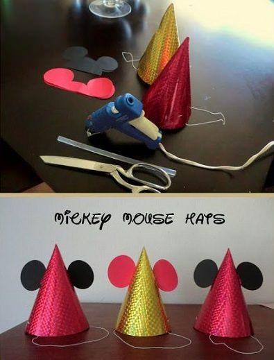 gorros de cumpleaos caseros de mickey mouse decoracion