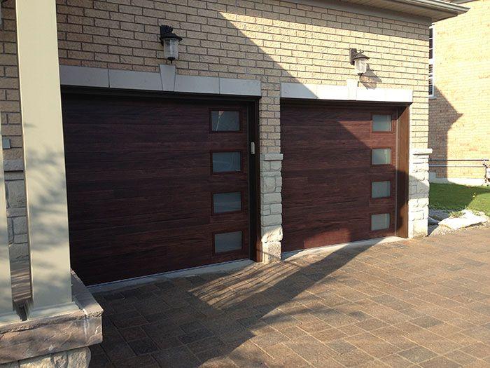 Modern Garage Doors Fiberglass Double Door With 4 Lites Installed In Oakville