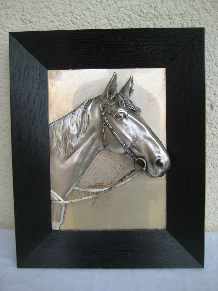 Relief Wandbild Metall * Pferdekopf * 3D Effekt Bild * schwarzer ...