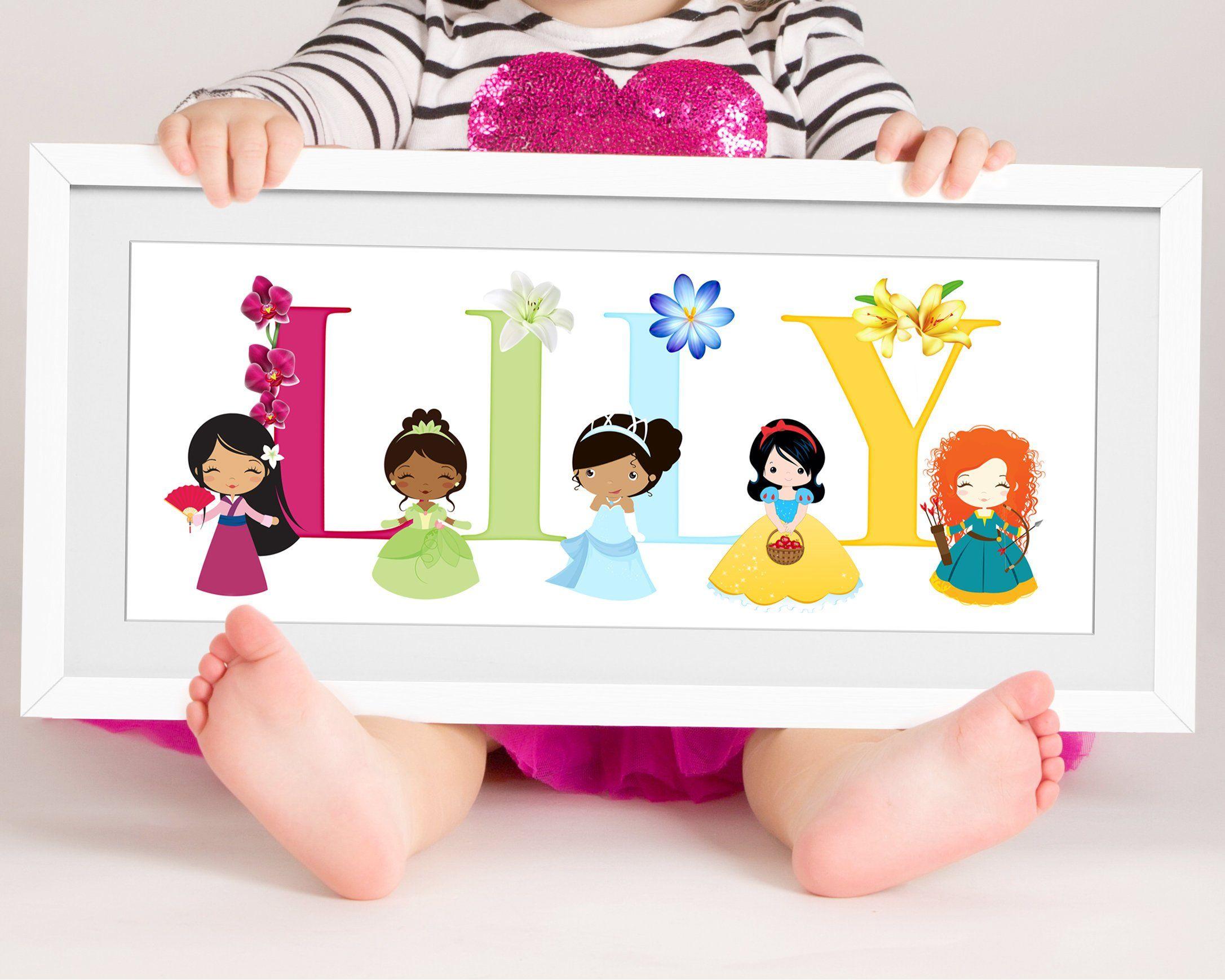 Disney Princess Baby Name Print Wall Art