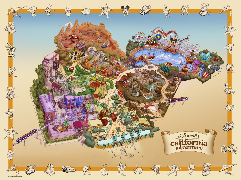 Illustrated map of Disneyu0027s California Adventure Disney