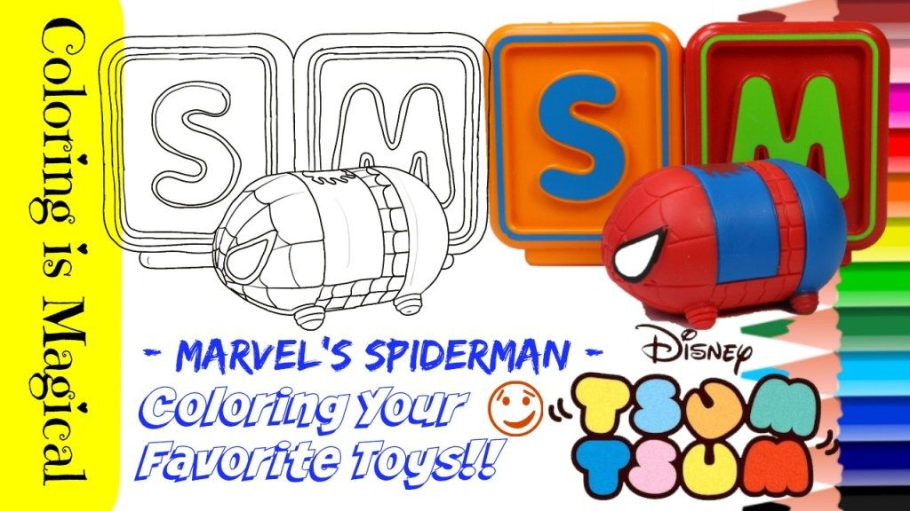 Color Your Toy Spiderman Tsum Tsum With Me Spiderman Tsum Tsum Coloring Pages Tsum Tsum